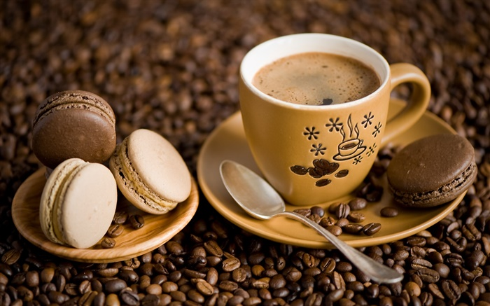 Coffee, cup, yellow color, spoon, saucer, cookies Wallpapers Pictures Photos Images