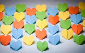 Colorful origami, love hearts, paper HD wallpaper