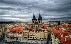 Czech Republic, Prague, city, Old Town Square, Tyn Church, houses HD wallpaper