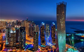 Dubai, UAE, city, evening, lights, skyscrapers HD wallpaper