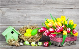 Easter, colorful eggs, tulips flowers HD wallpaper