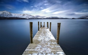 England, Keswick, lake, bridge, dock, mountains, dusk HD wallpaper