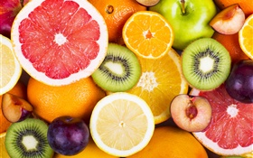 Fresh fruits, berries, oranges, kiwi, grapefruit, apples HD wallpaper