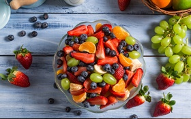 Fruit salad, bowl, grapes, strawberries, blueberries, orange, banana HD wallpaper