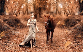 Girl and horse, autumn, yellow leaves HD wallpaper