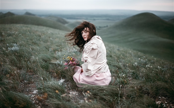 Girl in the wind, meadow, bouquet flowers, slope Wallpapers Pictures Photos Images