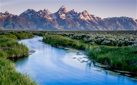 Grand Teton National Park, mountains, lake, river, grass