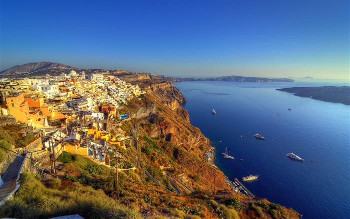 Greece, Santorini, coast, sea, boats, bay, houses Wallpapers Pictures Photos Images