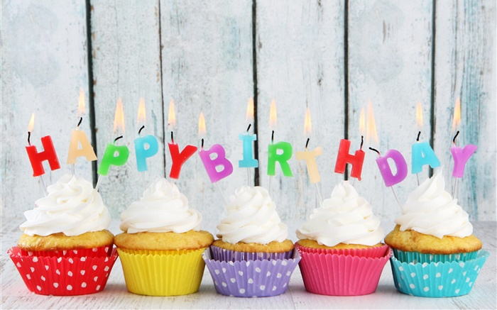 Happy Birthday, five cupcakes, candles, colorful letters, cream cake Wallpapers Pictures Photos Images