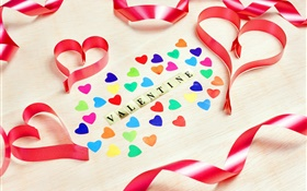 Happy Valentine's Day, love hearts, romantic, ribbon HD wallpaper