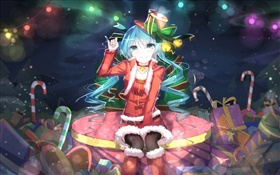 Hatsune Miku, Christmas anime girl, hat, smile, gifts HD wallpaper