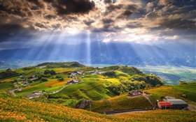 Hills, sky, clouds, sun rays, mountains, houses, trees, people HD wallpaper
