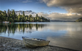 Lake, sky, clouds, mountains, trees, boat, shore HD wallpaper