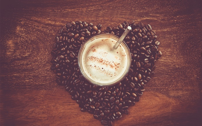 Love heart coffee beans, table, mug, drink Wallpapers Pictures Photos Images