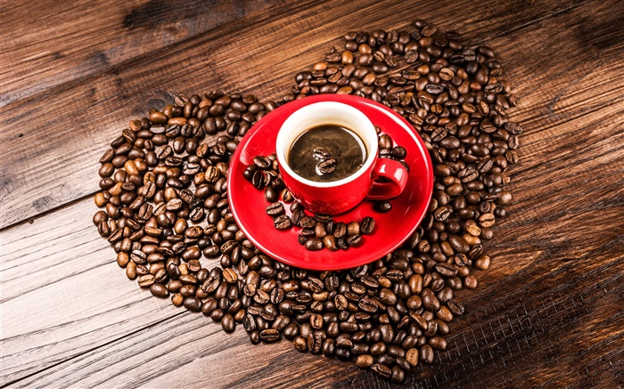 Love hearts coffee beans, grains, red cup, saucer Wallpapers Pictures Photos Images