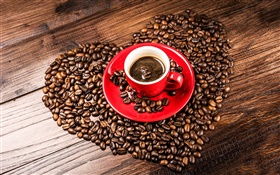 Love hearts coffee beans, grains, red cup, saucer HD wallpaper
