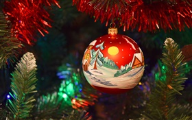 Merry Christmas, New Year, decoration, painted ball
