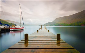 Pier, mountains, lake, bridge, boat, yacht, morning HD wallpaper