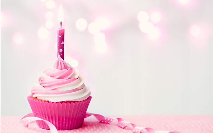 Pink color, cupcake, candle, cream Wallpapers Pictures Photos Images