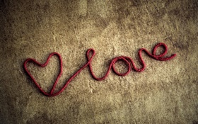 Red rope, love hearts HD wallpaper