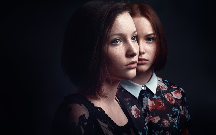 Short hair two girls, freckles, black background Wallpapers Pictures Photos Images