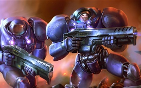Starcraft, PC game, troops, armor, weapons HD wallpaper