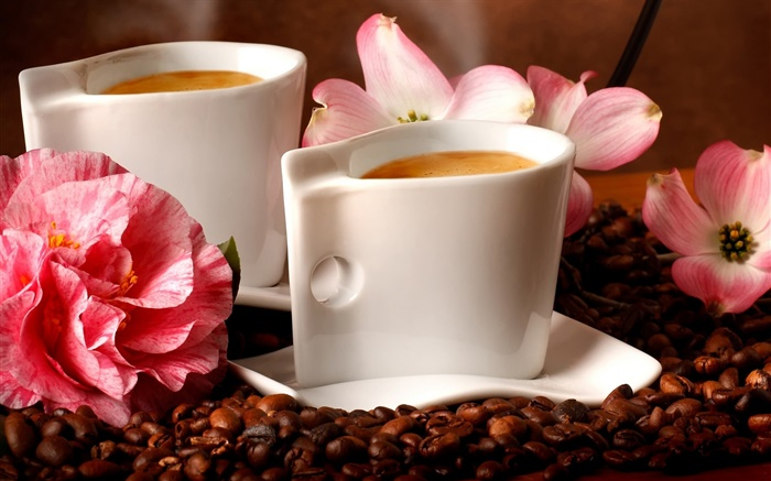 Two cups coffee, aroma, coffee beans, flowers Wallpapers Pictures Photos Images
