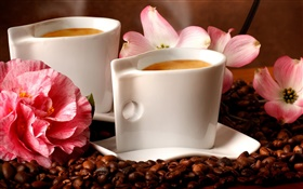 Two cups coffee, aroma, coffee beans, flowers HD wallpaper