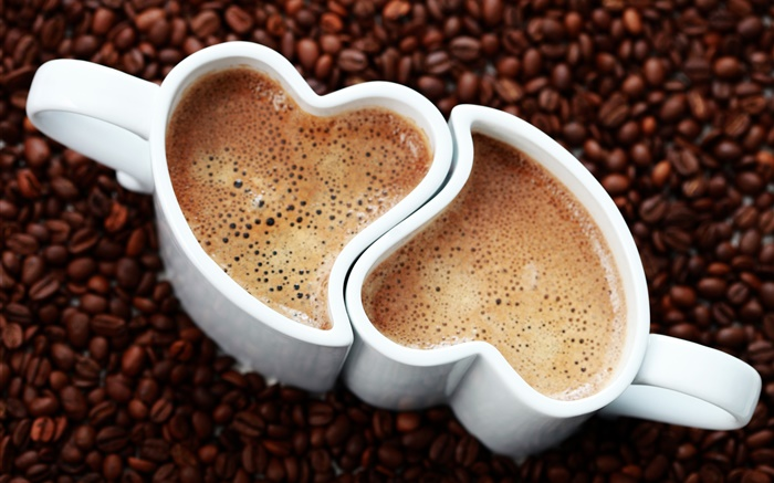 Two cups coffee, love hearts, foam, beverage Wallpapers Pictures Photos Images