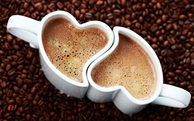 Two cups coffee, love hearts, foam, beverage HD wallpaper