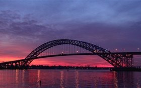 USA, New Jersey, Bayonne Bridge, river, sunset, twilight HD wallpaper