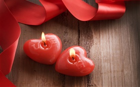 Valentine's Day, love hearts, romantic, candle HD wallpaper
