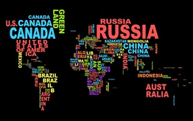 World Map, countries, text, creative design HD wallpaper