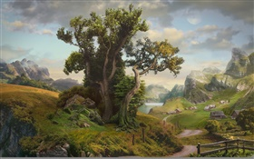 Art painting, house, trees, village, mountain, road, lake