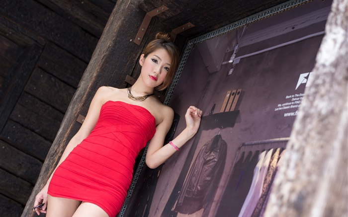 Asian girl, red dress, legs, summer Wallpapers Pictures Photos Images