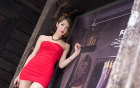 Asian girl, red dress, legs, summer HD wallpaper