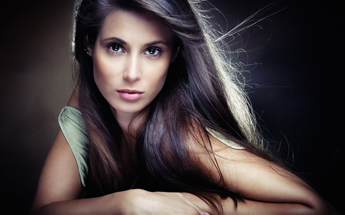 Beautiful girl, brown eyes, face, hair, wind Wallpapers Pictures Photos Images