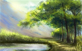 Beautiful painting, forest, lake, trees HD wallpaper