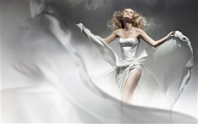 Blonde girl, white dress, wind, like angel HD wallpaper
