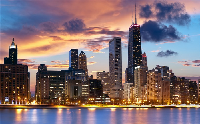 Chicago, USA, river, houses, evening, lights Wallpapers Pictures Photos Images