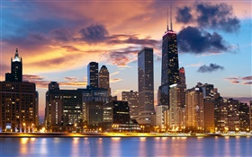 Chicago, USA, river, houses, evening, lights HD wallpaper
