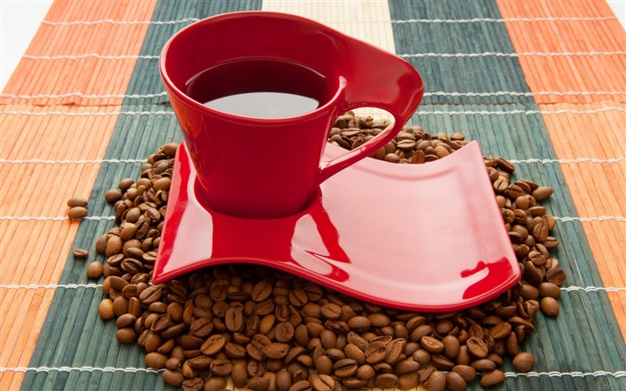 Cup, coffee beans, drink, red Wallpapers Pictures Photos Images