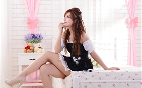 Curly hair asian girl, legs, room, bed HD wallpaper