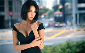 Downtown, lovely girl, short hair HD wallpaper