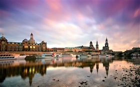 Dresden, Germany, morning, buildings, boats, Elbe river HD wallpaper
