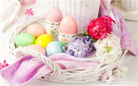 Easter eggs, flowers, spring, decoration HD wallpaper