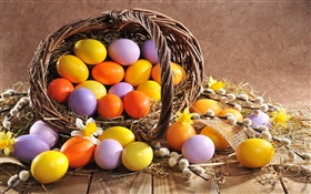 Easter, eggs, spring, willow twigs, basket HD wallpaper