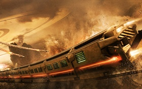 Fantasy art, railway, train, speed, sparks, attack HD wallpaper