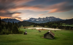 Germany, Bavaria, Alps, mountains, houses, trees, lake