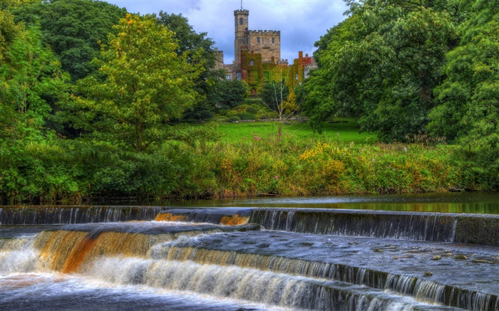 Hornby Castle, England, river, stream, trees Wallpapers Pictures Photos Images